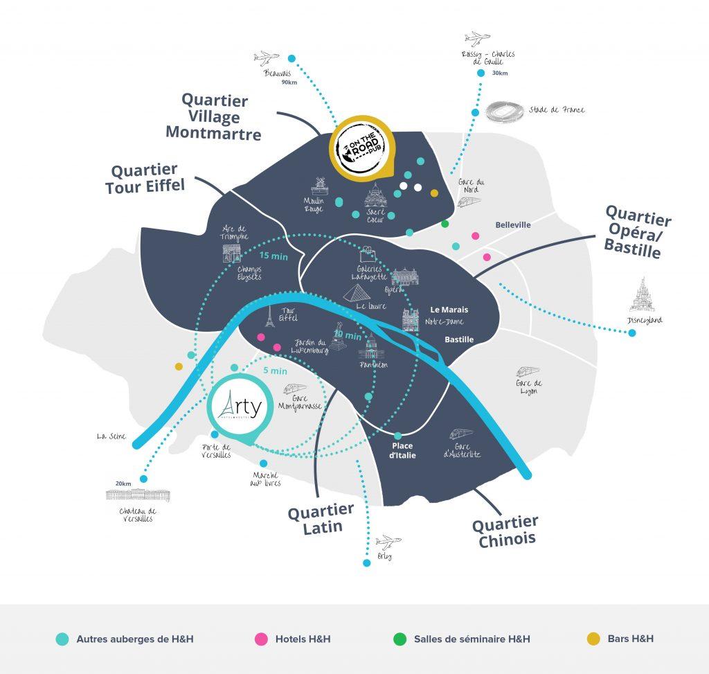 Carte de Paris avec l'établissement de l'hôtel Paris Arty