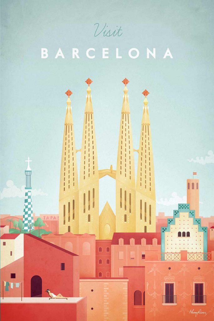 Tableau Barcelone de l'artiste Henry Rivers
