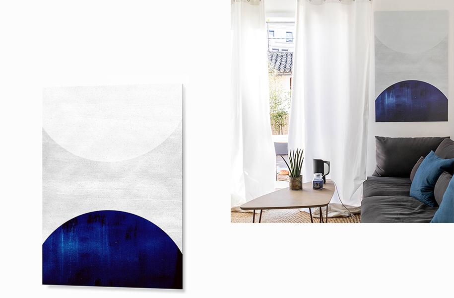 Tableau Abstrait Blanc Bleu