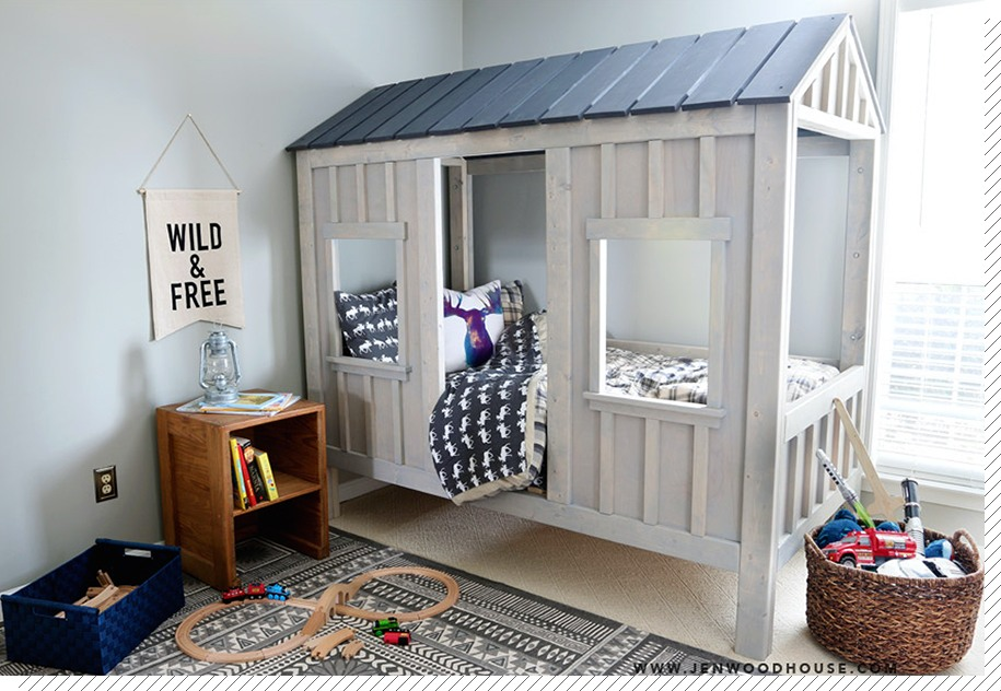 chambre enfant le lit cabane d coration cr ative. Black Bedroom Furniture Sets. Home Design Ideas